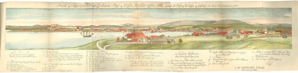 Mitter Lund's 1745 drawing of Christiania and Oslo (Gamlebyen)